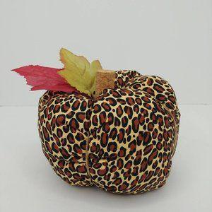 Stuffed Leopard Print Fabric Pumpkin